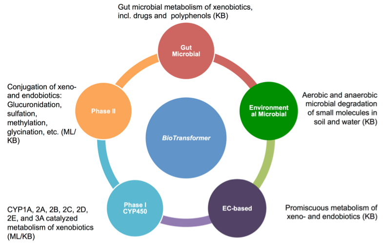 Fig. 1 An overview of BioTransformer's five metabolism prediction modules, the EC-based, CYP450, phase II, human gut microbial, and environmental biotransformer modules.